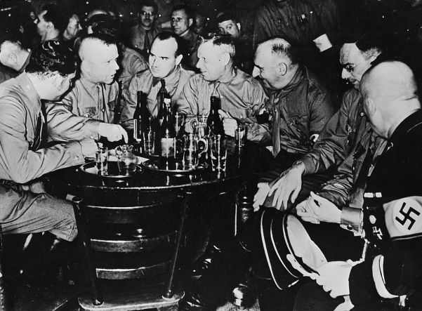 Brownshirts in a Munich beer hall in the early 1920s. Battles with communists in beer halls became part of Nazi folklore.