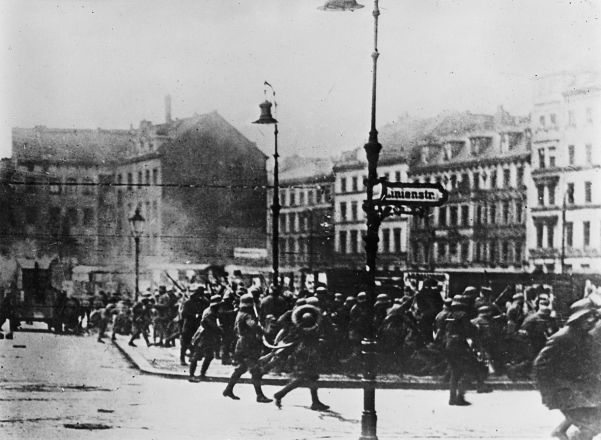 German Army troops in Berlin in 1919 during the Spartacist revolt. The Freikorps assisted in the suppression of this uprising.