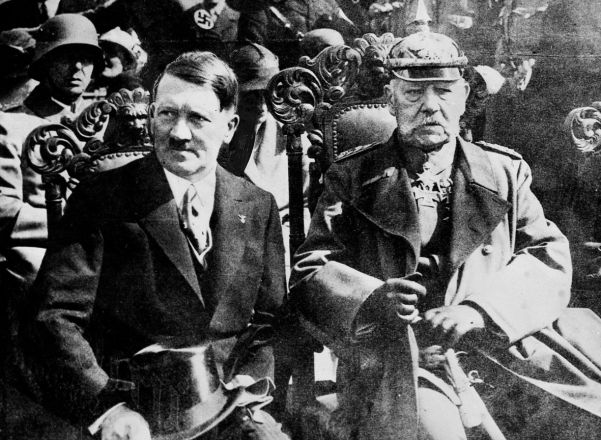 Chancellor Hitler and President Hindenburg. The latter had once vowed he would never make Hitler chancellor.