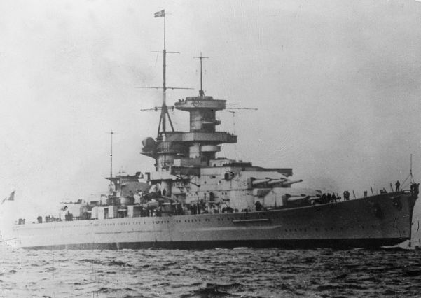 The battlecruiser Gneisenau was launched in December 1936. She was sister to the Scharnhorst.