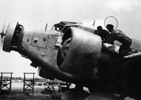 One of the Junkers Ju 52 transport aircraft used to ferry Franco's men to the Spanish mainland in 1936.