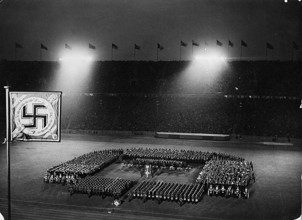 The games were an ideal opportunity to show off Nazi militarism. Here, 2000 military musicians entertain the crowd.
