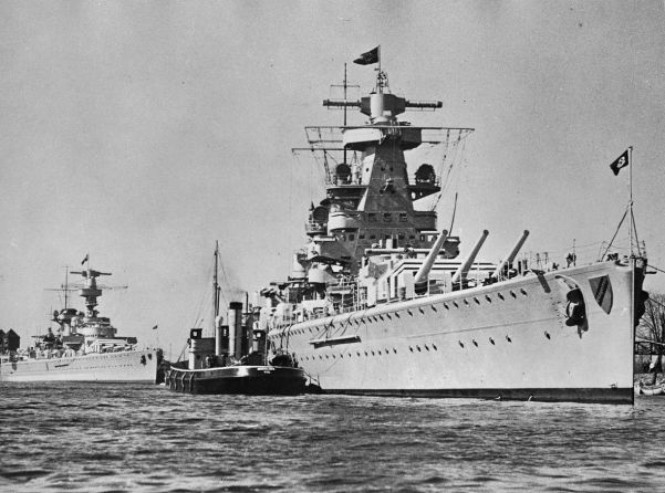 The Deutschland, seen here behind the Admiral Scheer, was badly damaged in a Republic air attack in Ibiza in May.