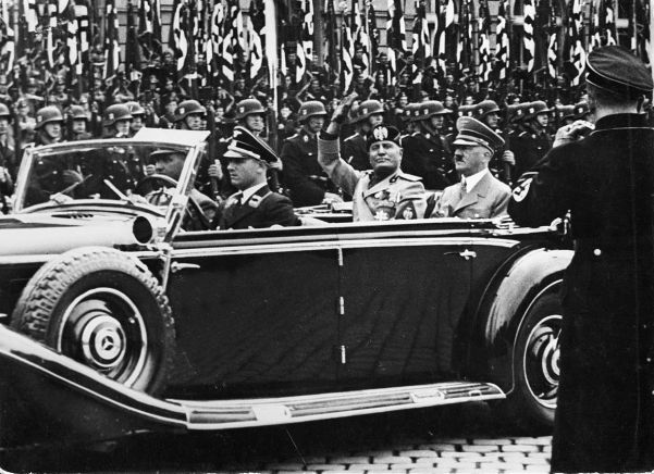 As the two dictators were driven through the streets of Munich, 36,000 guards lined their route.