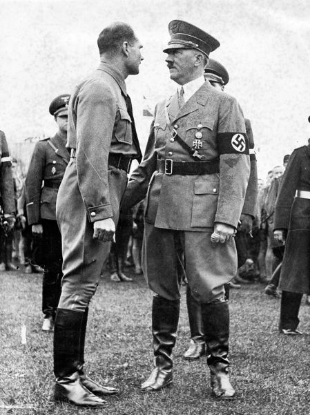 Another shot of the 1937 Party Day. Here, Hitler talks with Rudolf Hess, whose influence was beginning to wane.
