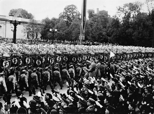 Then came a display of Nazi standard bearers, rank upon rank of Brownshirts marching in perfect unison.
