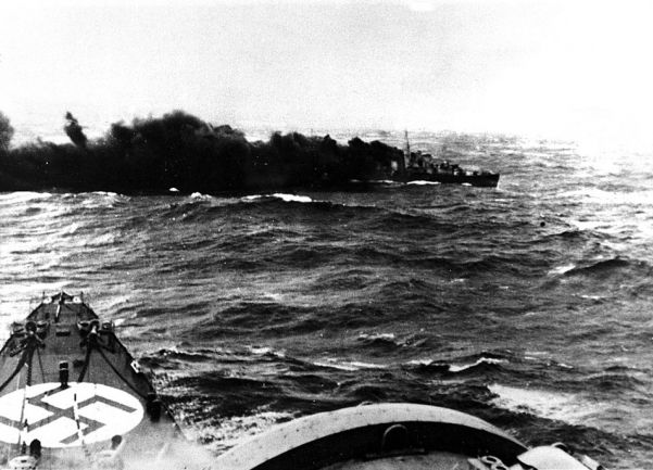 British destroyer Glowworm sinks after ramming the German heavy cruiser Admiral Hipper