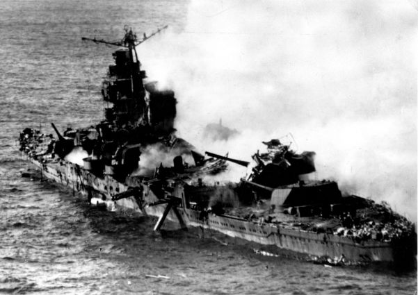 The Japanese cruiser Mogami after sustaining an attack by US aircraft during the Battle of Midway