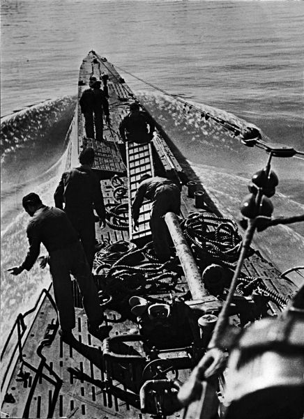 A German U-boat undergoes routine maintenance while on the lookout for Allied shipping in the Mediterranean