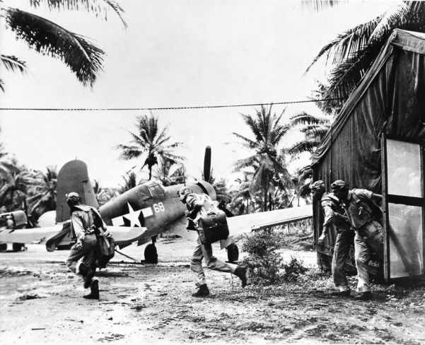 US Marine Corps pilots scramble to attack Japanese forces on Guadalcanal