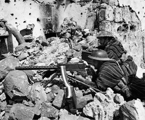 Algerian troops of Genereal Alphonse Juin's French Expeditionary Corps in action at Monte Cassino Italy, in the middle of January