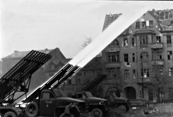 Soviet rocket-launchers blast German positions in Potsdam railroad station in the finals days of the Battle of Berlin