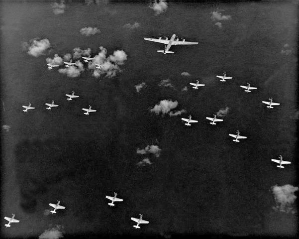 US fighters, such as these Mustangs, could escort the bombers on their missions to the Japanese homelands