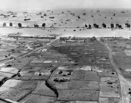 The US II Amphibious Corps pours ashore on Okinawa. By the end of the first day, 50,000 troops had been landed