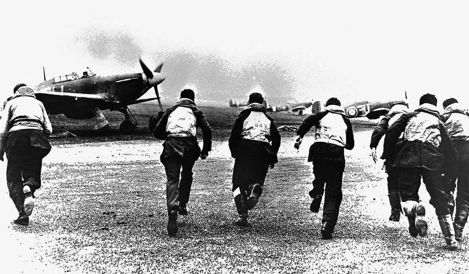 British pilots rush to their Hurricanes during the Battle of Britain