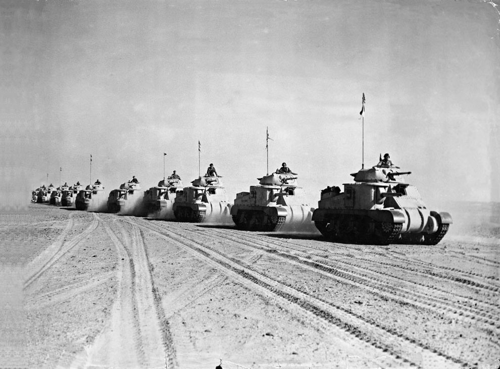 A column of British tanks prepares for action against Axis forces in Libya