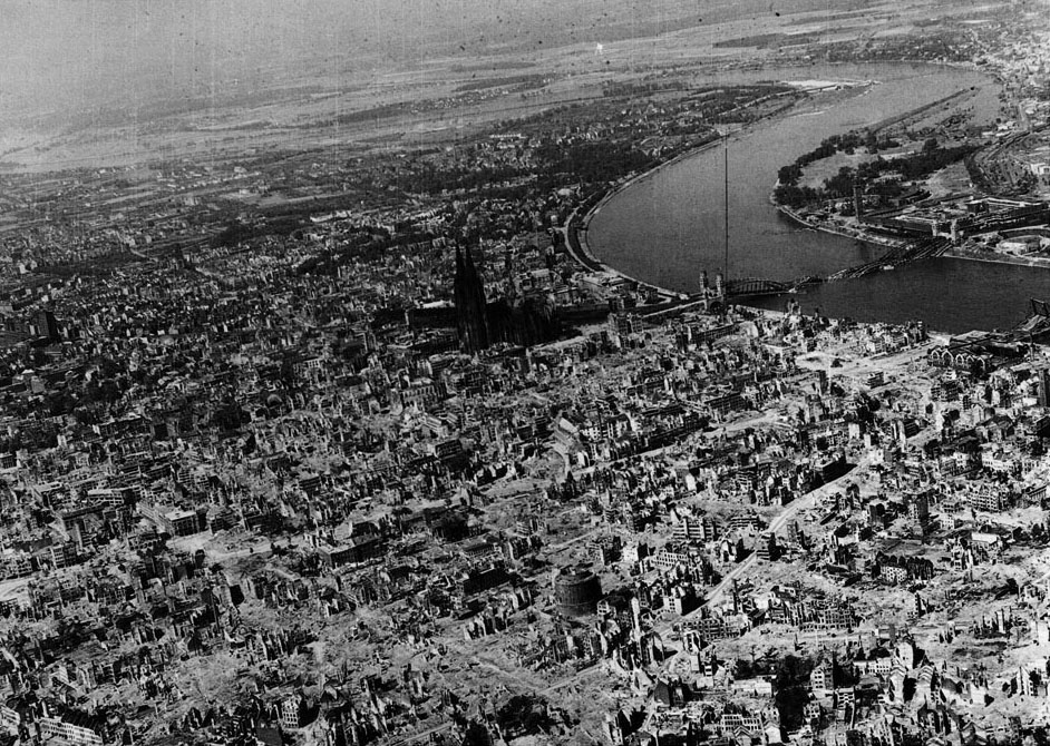 A view of the Germany city of Cologne after the British