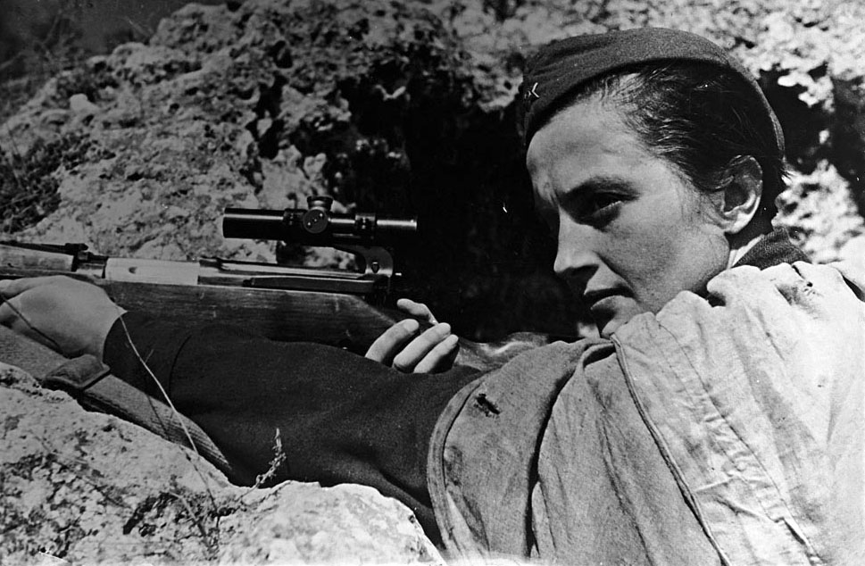 A female Soviet sniper in the Caucasus
