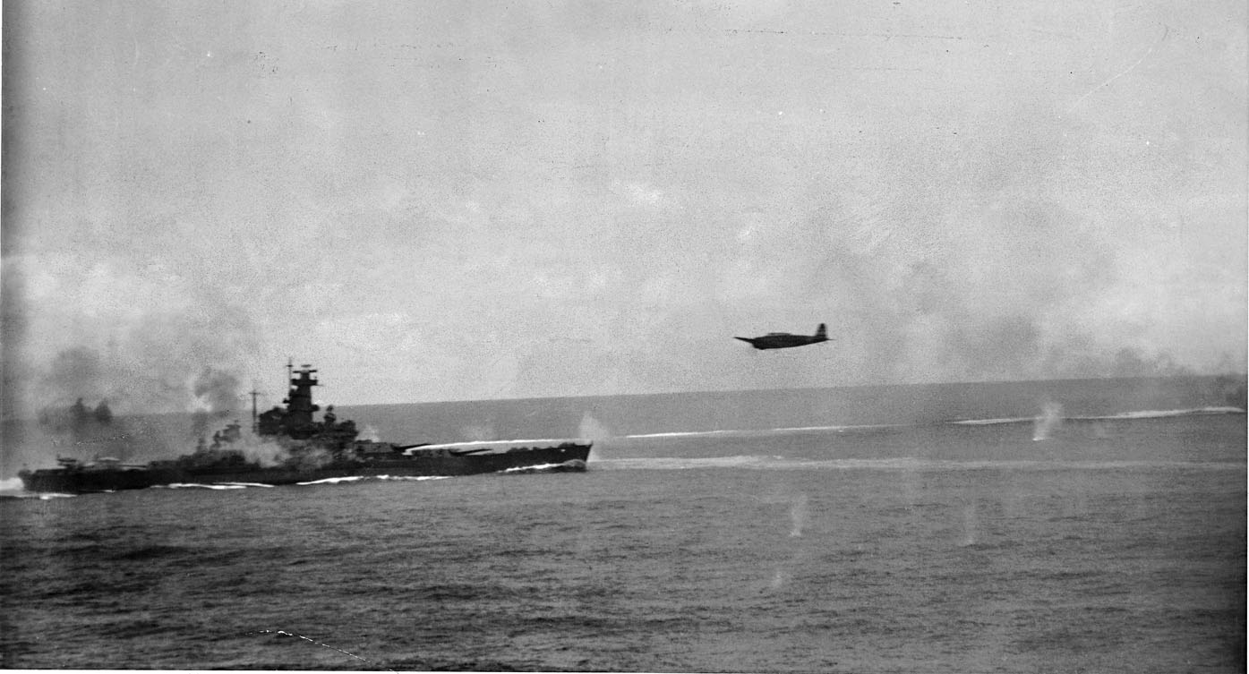 A Japanese bomber in action against US warships during the Battle of Santa Cruz