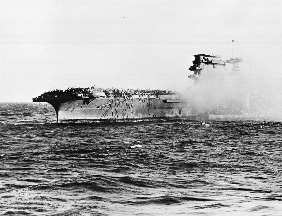 US sailors abandon the Lexington during the Battle of the Coral Sea