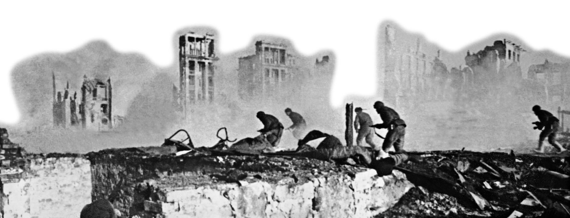 Soviet troops battle their way forward in the ruins of Stalingrad as the Red Army tightens its grip on the city