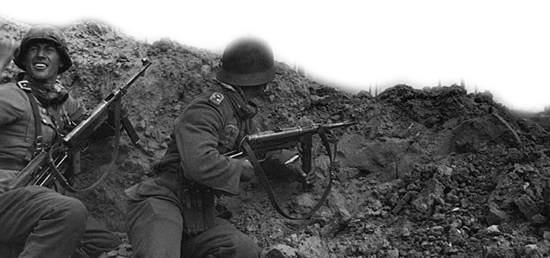 German troops in action during the desperate struggle against the Soviet forces outside Stalingrad