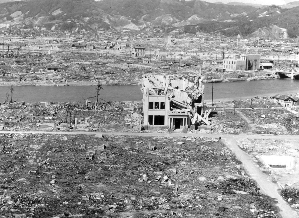 The Japanese city of Hiroshima, devastated by the first use of an atomic bomb in warfare on August 6, 1945